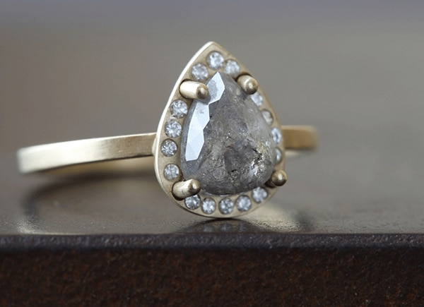 One-of-a-Kind Grey Diamond Ring With Pave Halo // Alexis Russell // conflict-free and recycled metal