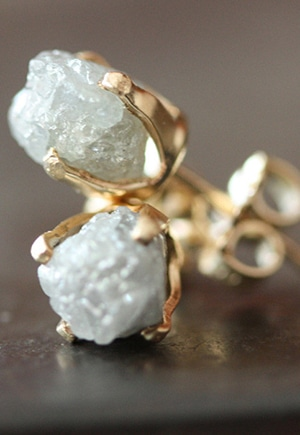 Rough Diamond Stud Earrings // Alexis Russell // conflict-free + recycled metal