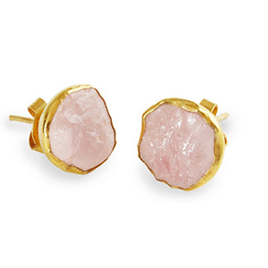 Rose quartz and gold plated earrings
