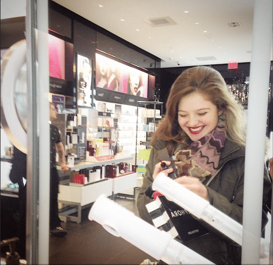 Trying on lipsticks at Sephora