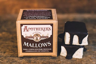 For the nostalgic: Chocolate Topped Mallows. The first known marshmallow candy dates back to ancient Egypt where beekeepers mixed honey and the sap of the marshmallow plant, medicinally used since antiquity for aiding in digestion and healing sore throats. These mallows are made with Kosher Grass-Fed Gelatin and Organic Marshmallow Root. Apotheker's mallows are sweetened only with pure clover honey sourced from a fifth generation beekeeper in Colorado. They have added organic marshmallow root as a nod to the original.