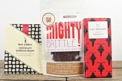 For the caffeine addict: Buzzed Bundle. Keep them up all night with chocolate espresso beans, espresso cacao brittle, and coffee chocolate roasted with Stumptown coffee beans.