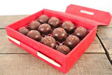 For the luxury lover: Caramel and Sea Salt Collection: Twelve luscious 71% Ecuadorian single bean dark chocolate bonbons filled with caramel and topped with Hawaiian sea salt.