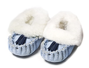 Recycled denim and shearling slippers // made in Lesotho