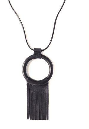 Non-exploitative festival fashion // leather necklace handmade in Los Angeles