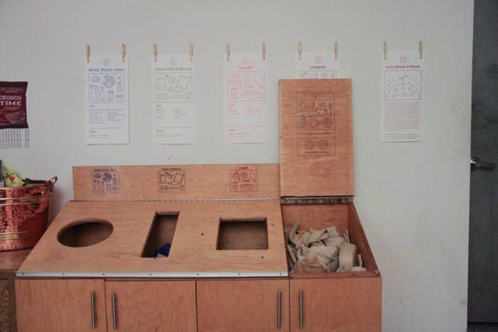 Composting and recycling station in the lunch room
