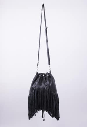 Non-exploitative festival fashion // Fringe bag made from recycled leather