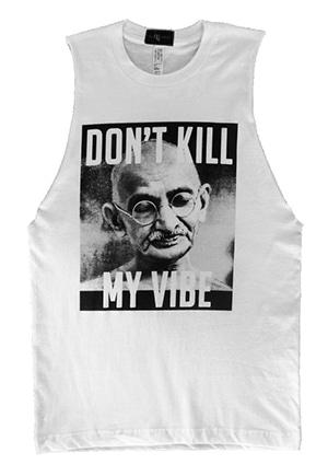 Non-exploitative festival fashion // Don't Kill My Vibe sleeveless tee made in the USA