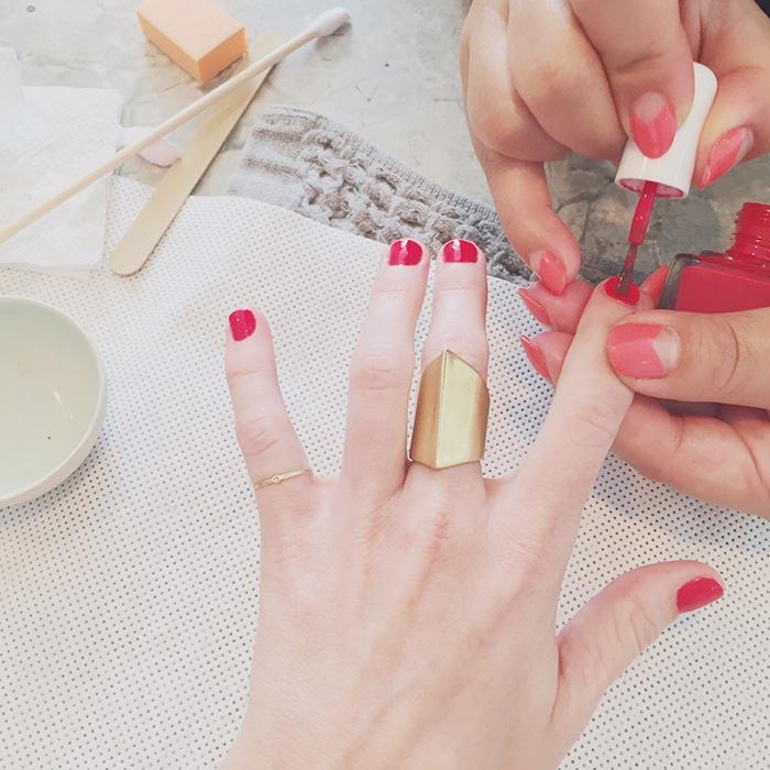 Getting my nails done at Tenoverten SoHo