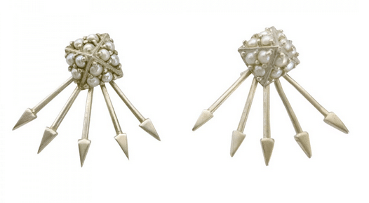Pearl and silver jacket earrings at Indelust