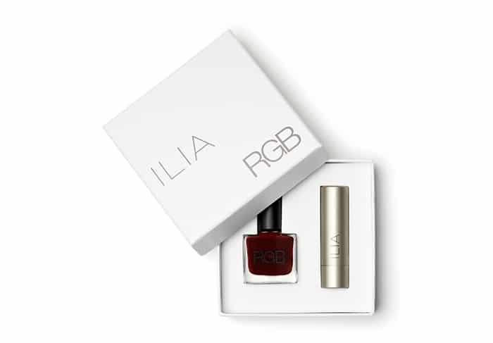 Ilia + RGB non-toxic nail polish and lipstick set