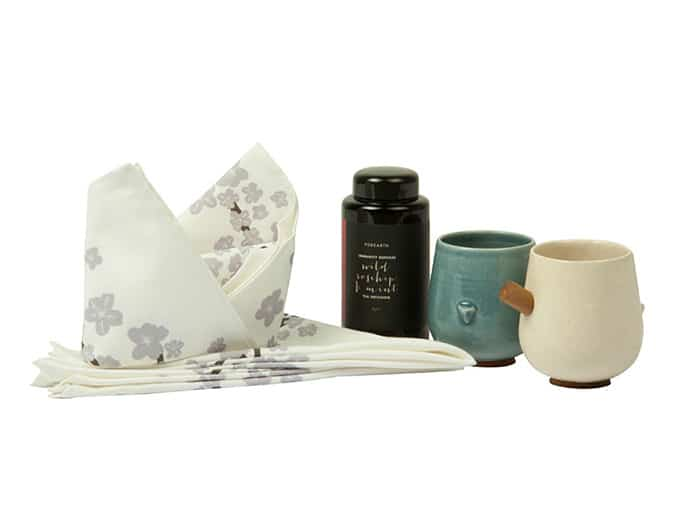 Indelust Tea Therapy gift set. Includes Urban Tweeter Mugs by Rayden, Cherry Blossom Napkin Set by Safomasi, and Immunity Defense Wild Rosehip & Mint Tea by Purearth