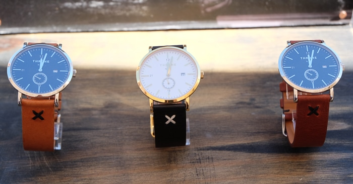 Brooklyn-based Throne watches have handmade leather bands, with faces made in Sidney, Illinois