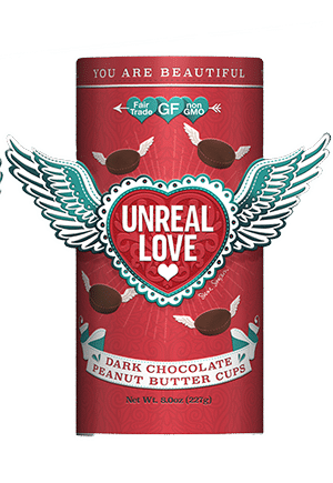 UnReal reinvents America's favorite candies (like Reese's!) using only 100% real, non-GMO ingredients, less sugar, and no gluten, corn, or soy.