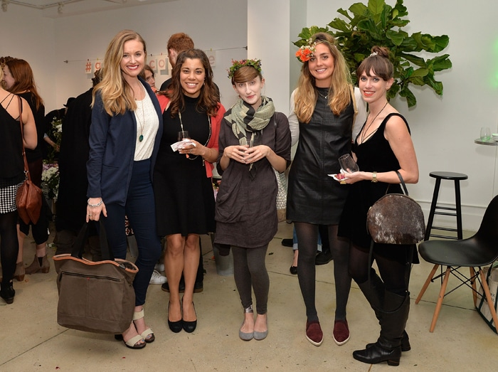Lindsay E. Brown of Eco-Chick and her friend, organic beauty maker Briar Winters, Caroline Lahti, and Alden Wicker