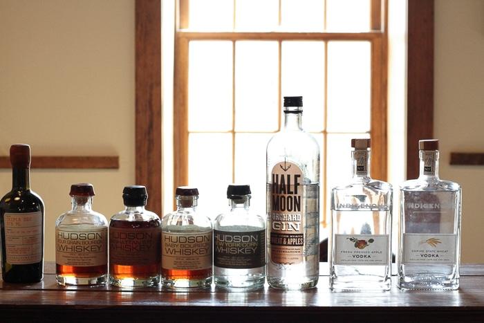 Bottles lined up for tasting at the Tuthill House tasting room