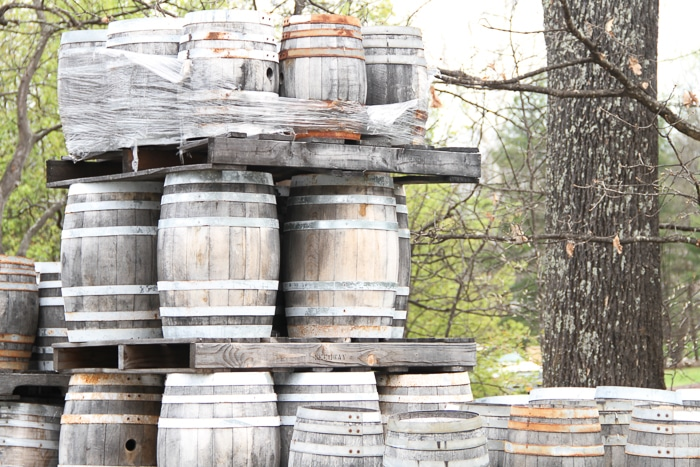 Burned barrels from the fire.