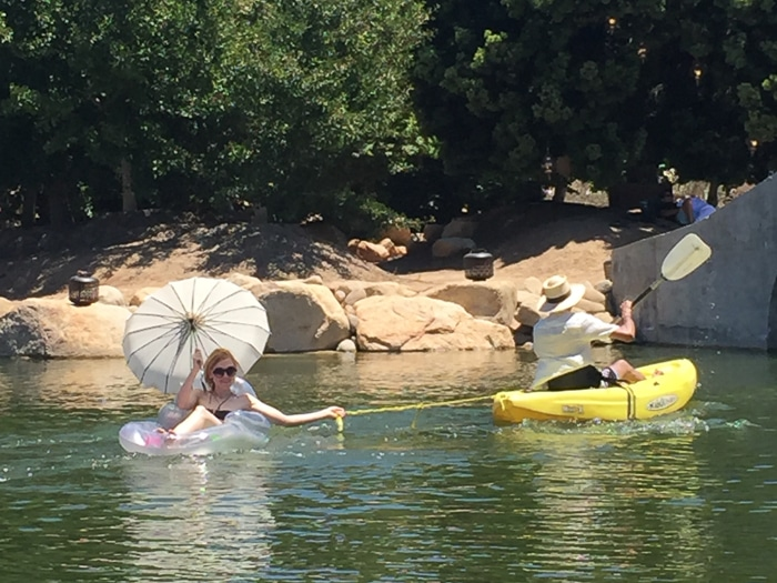 Our new friend Kate floating around the lake