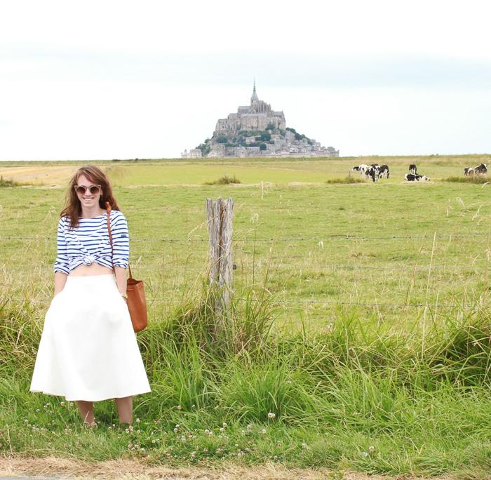 Alden Wicker // EcoCult // Ethical French Style // Saint James Shirt, Meg skirt, Baggu bucket bag