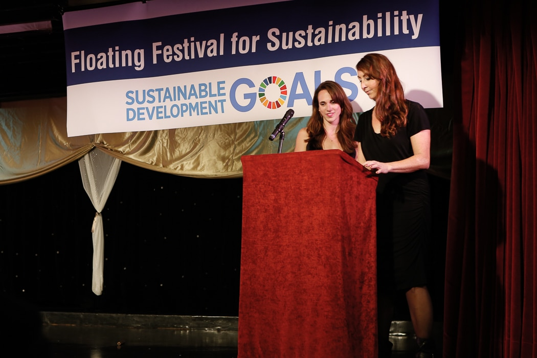 Emilie and I tell the attendees about the importance of sustainable fashion to meeting the UN's Sustainable Development Goals. Photo credit: Brian Park