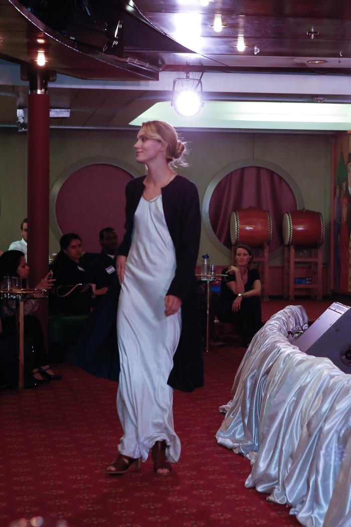 Jennifer Czyborra in an Indelust jacket and Awaveawake dress. Photo credit: Brian Park