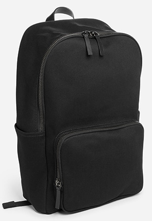 This ethically made backpack has a padded pocket for his laptop and side pocket for his reusable water bottle.