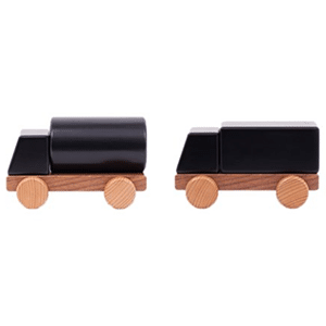 Magnetic, chalkboard painted car pieces encourage creative play. Non-toxic, low VOC finishes.