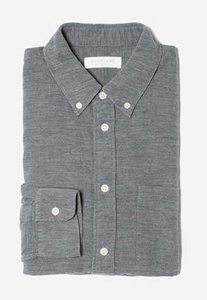 "An ethically made cotton button down that says, ""I have a good job that I love."""