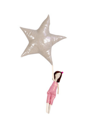 After it's done being a mobile, it can be cut to make her a doll and star pillow. Made in the United States of linen, up-cycled cashmere, and Nature-Fil™ Corn Fiberfill.