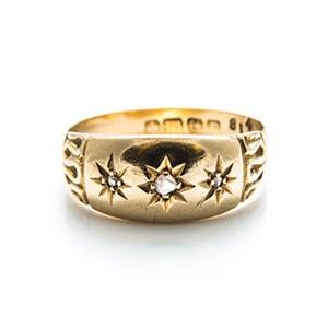 Vintage star diamond gold ring