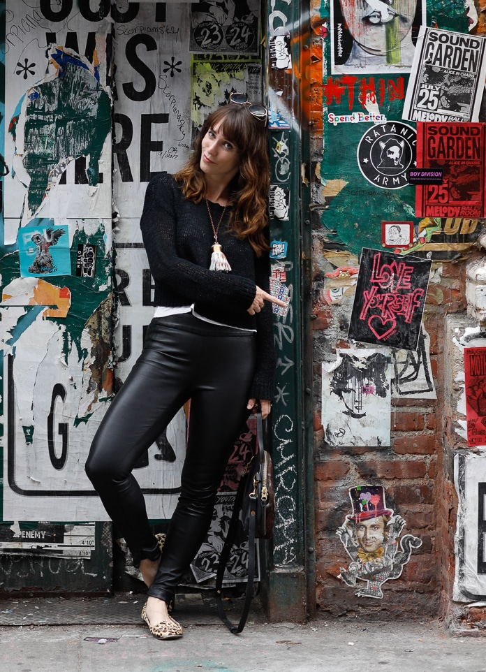 Eco-friendly leather leggings from a French tannery and sewn in NYC