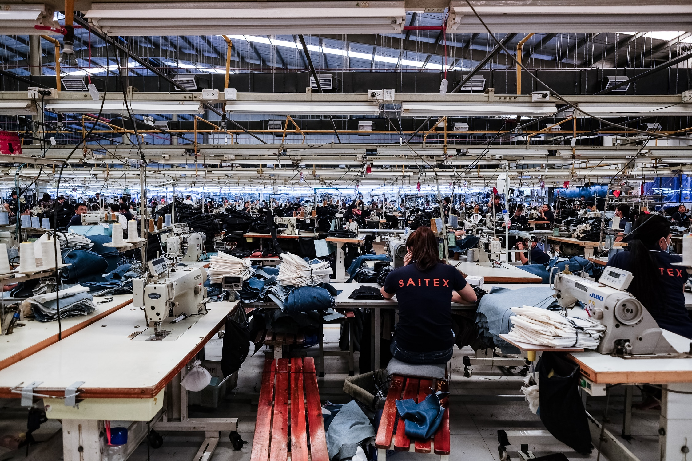 Large denim factory with garment workers
